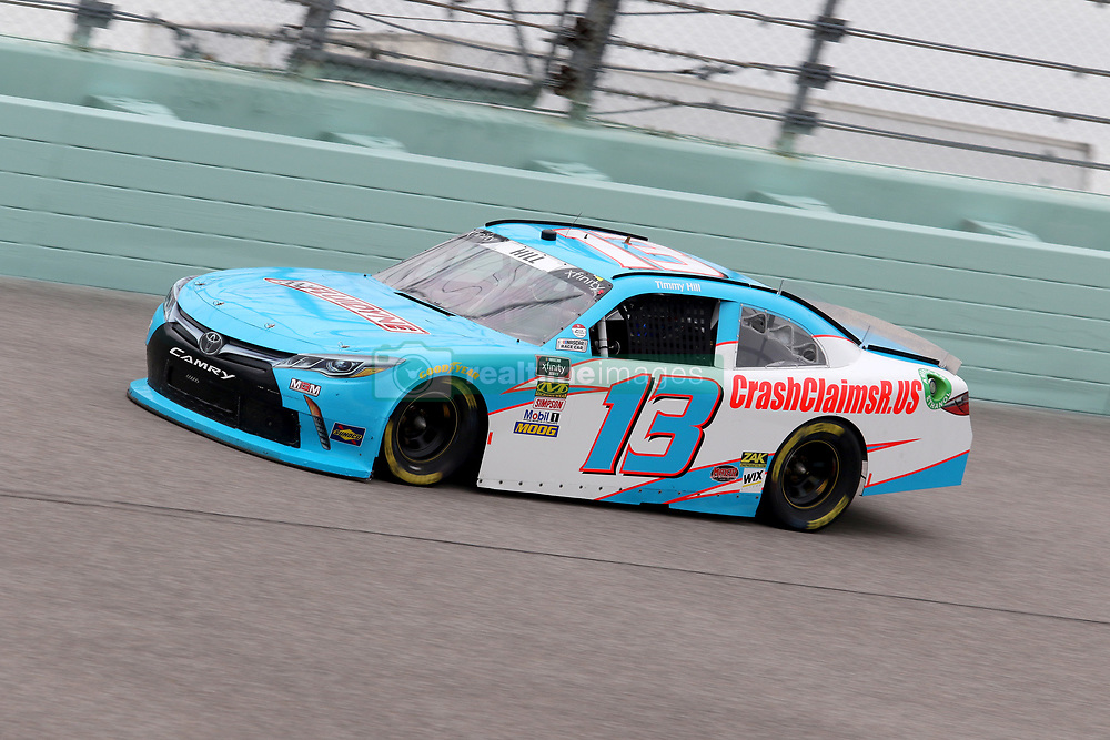 November 16, 2018 - Homestead, FL, U.S. - HOMESTEAD, FL - NOVEMBER 16: Timmy Hill, driver of the #13 OCR Gaz Bar Toyota, during practice for the NASCAR Xfinity Series playoff race, the Ford EcoBoost 300 on November, 16, 2018, at Homestead - Miami Speedway in Homestead, FL. (Photo by Malcolm Hope/Icon Sportswire) (Credit Image: © Malcolm Hope/Icon SMI via ZUMA Press)