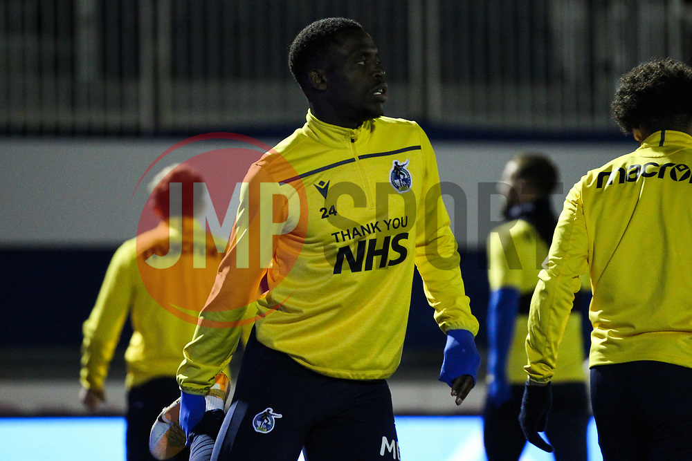 David Tutonda of Bristol Rovers prior to kick off- Mandatory by-line: Will Cooper/JMP - 18/11/2020 - FOOTBALL - Memorial Stadium - Bristol, England - Bristol Rovers v Chelsea U21 - Papa John's Trophy