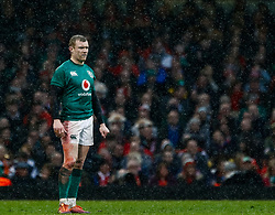 Keith Earls of Ireland<br /> <br /> Photographer Simon King/Replay Images<br /> <br /> Six Nations Round 5 - Wales v Ireland - Saturday 16th March 2019 - Principality Stadium - Cardiff<br /> <br /> World Copyright © Replay Images . All rights reserved. info@replayimages.co.uk - http://replayimages.co.uk