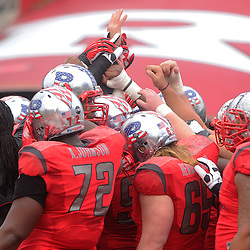 10 November 2012: Rutgers Scarlet Knights put their hands together during warmups for NCAA college football action between the Rutgers Scarlet Knights and Army Black Knights at High Point Solutions Stadium in Piscataway, N.J..