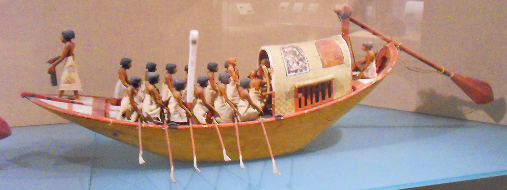 Travelling Boat being Rowed. 12th Dynasty, reign of Amememhat I, early. ca. 1981–1975 B.C. Egypt, Upper Egypt; Thebes, Southern Asasif, Tomb of Meketre