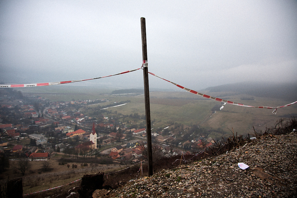 View of Krasna Horka, Slovakia from the site of the burned castle above the town.