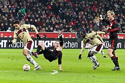 28.01.2011,  BayArena, Leverkusen, GER, 1. FBL, Bayer Leverkusen vs Hannover 96, 20. Spieltag, im Bild: von links: Mohammed Abdellaoue (Hannover #25), Michael Kadlec (Leverkusen #24), Didier Ya Konan (Hannover #11) und Sami Hyypiae (Leverkusen #4)  EXPA Pictures © 2011, PhotoCredit: EXPA/ nph/  Mueller       ****** out of GER / SWE / CRO ******