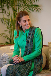 The Duchess of Cambridge during an official meeting with the President of Pakistan Arif Alvi at the Presidential Palace in Islamabad during the second day of the royal visit.