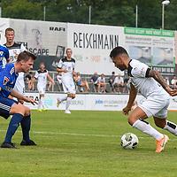 01.08.2020, C-Team Arena, Ravensburg, GER, WFV-Pokal, FV Ravensburg vs SSV Ulm 1846 Fussball, <br /> DFL REGULATIONS PROHIBIT ANY USE OF PHOTOGRAPHS AS IMAGE SEQUENCES AND/OR QUASI-VIDEO, <br /> im Bild Samuel Boneberger (Ravensburg, #17), Burak Coban (Ulm, #9)<br /> <br /> Foto © nordphoto / Hafner