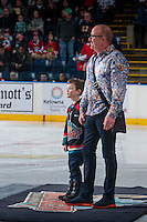 KELOWNA, CANADA - DECEMBER 27: Wayne McDermott and his grandson stand on the ice on December 27, 2016 at Prospera Place in Kelowna, British Columbia, Canada.  (Photo by Marissa Baecker/Shoot the Breeze)  *** Local Caption ***