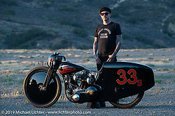 Invited builder Justin Walls' with his Petrali Tribute 1948 Harley UL Harley-Davidson custom he built for Bobby Green at the Born Free chopper show. Silverado, CA. USA. Sunday June 24, 2018. Photography ©2018 Michael Lichter.Bobby Green and invited builder Justin Walls' Petrali Tribute 1948 Harley UL Harley-Davidson custom at the Born Free chopper show. Silverado, CA. USA. Sunday June 24, 2018. Photography ©2018 Michael Lichter.