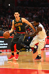 January 29, 2019 - Los Angeles, CA, U.S. - LOS ANGELES, CA - JANUARY 28: Atlanta Hawks Guard Jeremy Lin (7) drives to the basket during a NBA game between the Atlanta Hawks and the Los Angeles Clippers on January 28, 2019 at STAPLES Center in Los Angeles, CA. (Photo by Brian Rothmuller/Icon Sportswire) (Credit Image: © Brian Rothmuller/Icon SMI via ZUMA Press)