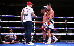Tommy Coyle (right) speaks to trainer Jamie Moore during the WBO International Super-Lightweight title at Madison Square Garden, New York.