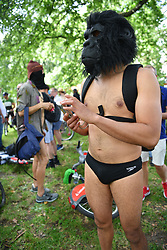 © Licensed to London News Pictures. 14/08/2021. London, UK. Participants prepare to set off in the annual naked bike bike in Hyde Park Marble Arch.  Photo credit: Guilhem Baker/LNP