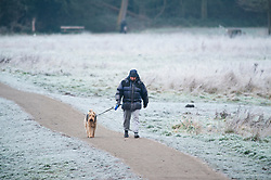 © Licensed to London News Pictures 31/12/2020.        Sidcup, UK. A man and his dog out walking. A freezing cold wintery scene at Footscray Meadows in Sidcup, South East London this new years eve as the country wakes up to one of the coldest days of 2020. Photo credit:Grant Falvey/LNP