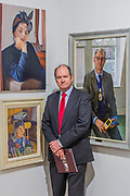 Ian Cryer with his portrait of Dame Margaret Drabble, bottom left - The Royal Society of Portrait Painters Annual Exhibition at the Mall Galleries. It includes over 200 portraits by over 100 artists.