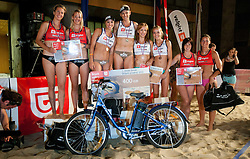 Second placed Mihela Istenic and Martina Jakob, winner Simona Fabjan and Andreja Vodeb, third placed Tamara Borko and Sara Sakovic and fourth placed Ana Skarlovnik and Zala Janet during women final match of Slovenian National Championship in beach volleyball Kranj 2012, on June 30, 2012 in Kranj, Slovenia. (Photo by Vid Ponikvar / Sportida.com)