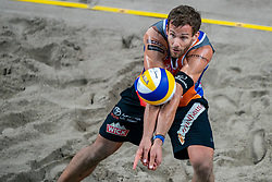 Marco Krattiger SUI in action during the last day of the beach volleyball event King of the Court at Jaarbeursplein on September 12, 2020 in Utrecht.