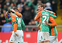 1:0 Jubel Jjohan Micoud, Tim Borowski, Miroslav Klose Bremen<br />Bundesliga SV Werder Bremen - FC Bayern Muenchen