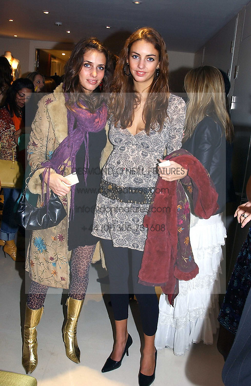 Left to right, sisters MARINA HANBURY and ROSE HANBURY at the UK launch of Tarun Tahiliani Design in association with the British Luxury Council held at The Knightsbridge, London SW7 on 10th March 2005.<br /><br />NON EXCLUSIVE - WORLD RIGHTS