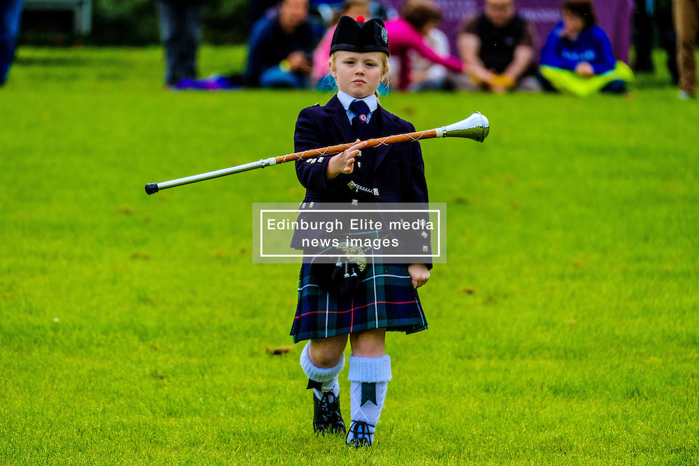 Peebles, Scotland UK  3rd September 2016. Peebles Highland Games, the biggest 'highland' games in the Scottish  Borders took place in Peebles on September 3rd 2016 featuring pipe band contests, highland dancing competitions, haggis hurling, hammer throwing, stone throwing and other traditional events.<br /> <br /> Pictured:  a young Pipe Major in the solo competition<br /> <br /> (c) Andrew Wilson | Edinburgh Elite media