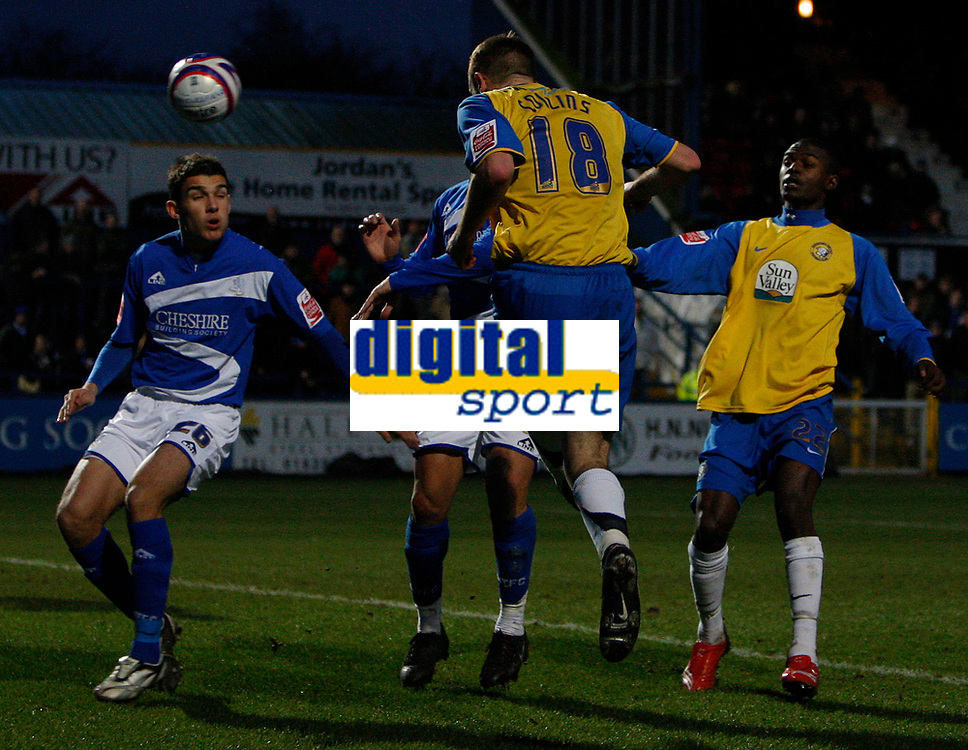 Photo: Steve Bond/Sportsbeat Images.<br /> Macclesfield Town v Hereford United. Coca Cola League 2. 26/12/2007. Lee Collins (18) heads for goal. Theo Robinson (R) is on hand to volley in the rebound