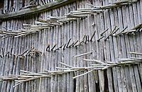Golzern, Switzerland - hay ricks as part of a barn.