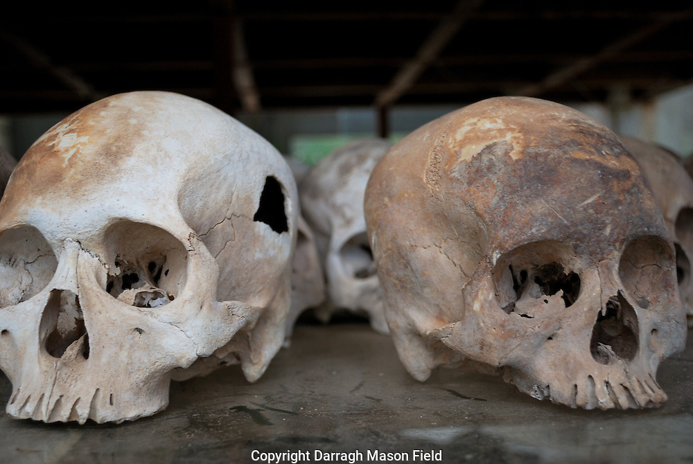 Skulls of young adults, victims of the Khmer Rouge.  The Skull on the left has a hole from a blow.  The skull on the right has cut marks on the forehead
