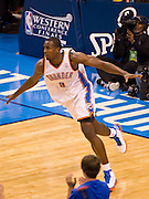 June 2, 2012; Oklahoma City, OK, USA; Oklahoma City Thunder forward Serge Ibaka (9) reacts to a play during the second half of a playoff game against the San Antonio Spurs at Chesapeake Energy Arena.  Thunder defeated the Spurs 109-103 Mandatory Credit: Beth Hall-US PRESSWIRE