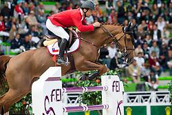 Rodrigo Carrasco, (CHI), Bardine - Team & Individual Competition Jumping Speed - Alltech FEI World Equestrian Games™ 2014 - Normandy, France.<br /> © Hippo Foto Team - Leanjo De Koster<br /> 02-09-14