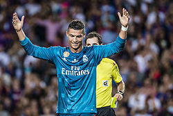 August 13, 2017 - Barcelona, Catalonia, Spain - Real Madrid forward RONALDO reacts after getting the red card during the Spanish Super Cup Final 1st leg between FC Barcelona and Real Madrid at the Camp Nou stadium in Barcelona (Credit Image: © Matthias Oesterle via ZUMA Wire)