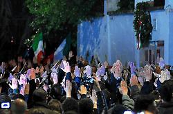 April 30, 2019 - Milan - Fascist rally in front of Sergio Ramelli's headstone in via Paladini, with a Roman salute (Maurizio Maule/Fotogramma, Milan - 2019-04-29) p.s. la foto e' utilizzabile nel rispetto del contesto in cui e' stata scattata, e senza intento diffamatorio del decoro delle persone rappresentate (Credit Image: © Maurizio Maule/IPA via ZUMA Press)