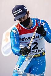 19.02.2021, Cortina, ITA, FIS Weltmeisterschaften Ski Alpin, Riesenslalom, Herren, Siegerehrung, im Bild 19.02.2021, Cortina, ITA, FIS Weltmeisterschaften Ski Alpin, Riesenslalom, Herren, Siegerehrung, im Bild // Silver medal winner in men's giant slalom 2021 Luca De Aliprandini of Italy during the winner ceremony of men giant slalom of FIS Alpine Ski World Championships 2021 in Cortina, Italy on 2021/02/19. EXPA Pictures © 2021, PhotoCredit: #AGENTUR#/ Johann Groder // Silver medal winner in men's giant slalom 2021 Luca De Aliprandini of Italy during the winner ceremony of men giant slalom of FIS Alpine Ski World Championships 2021 in Cortina, Italy on 2021/02/19. EXPA Pictures © 2021, PhotoCredit: EXPA/ Johann Groder<br /> <br /> *****ATTENTION - #RESTRICTION#*****