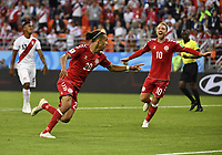 WM 2018, Peru - Dänemark (180616) -- SARANSK, June 16, 2018 -- Yussuf Yurary Poulsen (L front) of Denmark celebrates scoring during a group C match between Peru and Denmark at the 2018 FIFA World Cup WM Weltmeisterschaft Fussball in Saransk, Russia, June 16, 2018. ) (SP)RUSSIA-SARANSK-2018 WORLD CUP-GROUP C-PERU VS DENMARK HexCanling PUBLICATIONxNOTxINxCHN