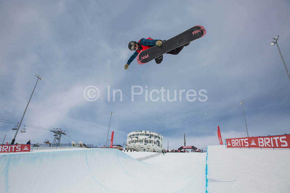 British snowboarder Lewis Courtier Jones during the The Brits snowboard halfpipe final championship on the 6th April 2018 in Laax Ski Resort, Switzerland. The Brits is a national championships sanctioned by British Ski & Snowboard