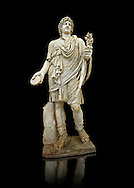 2nd century AD Roman marble sculpture known as the Farnese Lar (Lare) from the Baths of Caracalla, Rome,  inv 5975,  Farnese Collection, Museum of Archaeology, Italy ..<br /> <br /> If you prefer to buy from our ALAMY STOCK LIBRARY page at https://www.alamy.com/portfolio/paul-williams-funkystock/greco-roman-sculptures.html . Type -    Naples    - into LOWER SEARCH WITHIN GALLERY box - Refine search by adding a subject, place, background colour, etc.<br /> <br /> Visit our ROMAN WORLD PHOTO COLLECTIONS for more photos to download or buy as wall art prints https://funkystock.photoshelter.com/gallery-collection/The-Romans-Art-Artefacts-Antiquities-Historic-Sites-Pictures-Images/C0000r2uLJJo9_s0