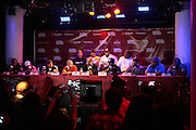 New York, NY-June 13 :(L-R) Hip Hop Recording Artists Super Natural, Podigy(Mobb Deep), Immortal Technique,On-Air Personality Peter Rosenberg, Chang Weisberg, Founder, Guerrilla Union, DMX, Jim Jones, Jadakiss, Eric Sermon, Sean Price, and Bill Danse(M.O.P) attend The ROCK THE BELLS FESTIVAL SERIES Press Conference and Launch Party produced in association with Boost Mobile and Guerrilla Union powered by Blackberry held at the Santos Party House on June 14, 2012 in New York City. Established in 2000, Guerilla Union has developed into one of the premiere core urban lifestyle brands in the U.S., manifesting itself in many forms including music, events, media and fashion. Guerilla Union's mission is to create experiential platforms, unique content and provide services that develop artists and their communities. (Photo by Terrence Jennings)