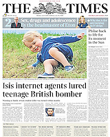 The Times Page One: Prince George watches Polo in Gloucestershire, UK, on the 14th June 2015.<br /> <br /> Picture by James Whatling