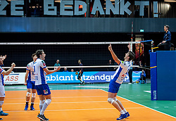01-05-2019 NED: Abiant Lycurgus - Achterhoek Orion, Groningen<br /> Final Round 3 of 5 Eredivisie volleyball, The men's title fight is incredibly exciting. In an atmospheric Martini Plaza, Achterhoek Orion managed to strike tonight after two lost sets against reigning Dutch champion Abiant Lycurgus: 2-3 (25-17, 25-13, 23-25, 29-31, 11-15). That gives a 2-1 lead in the best-of-five series / Wytze Kooistra #2 of Lycurgus