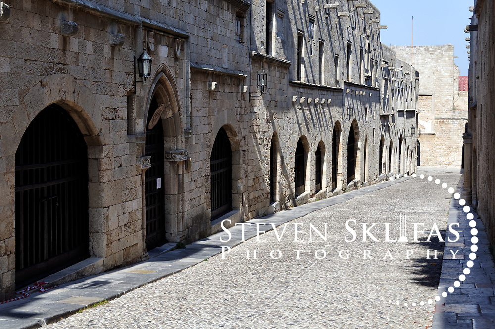 hodes. Greece. The Street of the Knights which is the perhaps the best preserved medieval street in Europe. The street is lined by the Inns of the Tongues (or nationalities) of the Order of St John and is located inside the old walled town of Rhodes which is a UNESCO world heritage listed site and the best preserved, oldest and largest living medieval city in Europe.