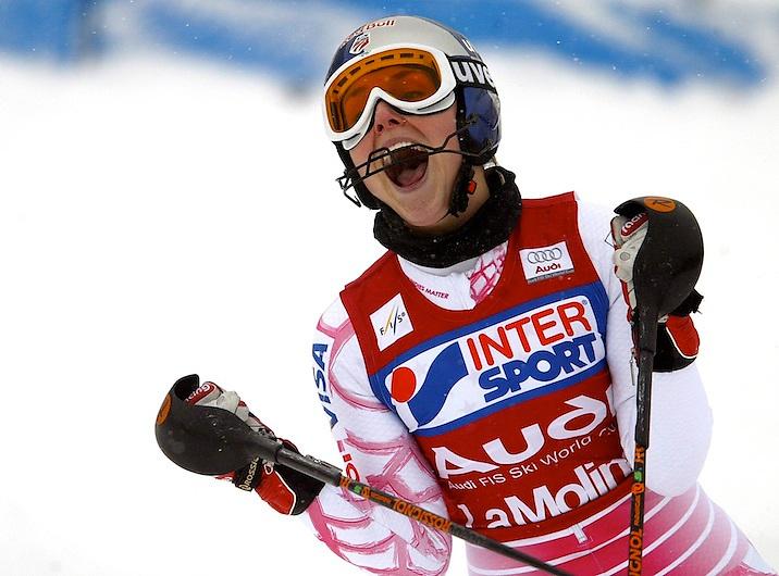 La Molina-Girona.  Audi FIS world cup 2008/2009. La esquiadora norteamericana Lindsey Vonn celebra la segunda plaza obtenida en el slalom femenino tras acabar carrera disputada en la estacio?n de esqui gerundense de La Molina.
