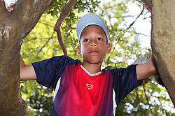 Young teenager climbing a tree,