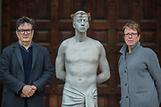 "Mark Wallinger with Kate Allen - Director of Amnesty International UK, helped by Canon Mark Oakley (Chancellor of St Paul's Cathedral), installs Mark Wallinger's 'Ecce Homo' statue at St Paul's Cathedral. The life-size sculpture shows the figure of Jesus Christ and was the first artwork to be shown on Trafalgar Square's fourth plinth in 1999.Mark Wallinger, who won the Turner Prize in 2007, said: ""This vulnerable figure will stand at the top of the steps outside the entrance to St Paul's Cathedral as we approach Easter to highlight the plight of people around the world who are imprisoned and whose lives are threatened for speaking the truth, and for what they believe."""