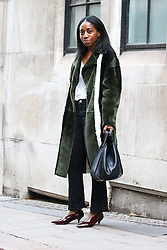 Fashionista arrives at the Ryan Lo Autumn / Winter 2017 London Fashion Week show at 180 Strand, London on Saturday February 18, 2017