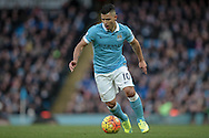 Sergio Agüero (Manchester City) runs with the ball during the Barclays Premier League match between Manchester City and Tottenham Hotspur at the Etihad Stadium, Manchester, England on 14 February 2016. Photo by Mark P Doherty.