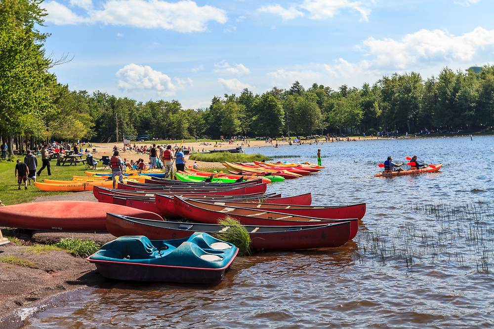 Benton, PA, USA - June 15, 2013: A boat rental concession operates at Ricketts Glen State Park during the summer and offers rowboats, paddleboats, kayaks and canoes.
