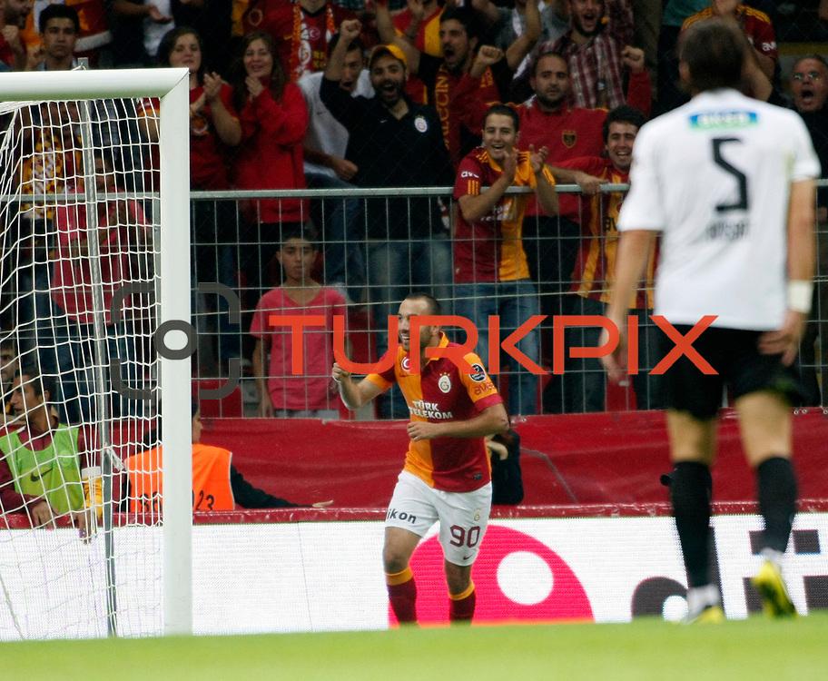 Galatasaray's celebrates his goal Sercan Yildirim during their Turkish Super League soccer match Galatasaray between Akhisar Belediyespor at the TT Arena at Seyrantepe in Istanbul Turkey on Sunday 23 September 2012. Photo by TURKPIX