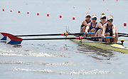 Poznan, POLAND, 21st June 2019, Friday, Morning Heats, USA W4- /1 (b) OPITZ Victoria, (2) WANAMAKER Madeleine, (3) REGAN Emily and (S) BRUGGEMAN Molly,  FISA World Rowing Cup II, Malta Lake Course, © Peter SPURRIER/Intersport Images,<br /> <br /> 11:28:51