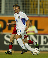 TEPLICE, CZECH REPUBLIC - Wednesday, April 30, 2003: Czech Republic's Milan Baros in action against Turkey during a friendly match at the Teplice Stadion Na Stinadlech. (Pic by David Rawcliffe/Propaganda)
