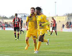 Ellis Harrison of Bristol Rovers celebrates Matt Taylor of Bristol Rovers - Mandatory byline: Neil Brookman/JMP - 07966 386802 - 03/10/2015 - FOOTBALL - Globe Arena - Morecambe, England - Morecambe FC v Bristol Rovers - Sky Bet League Two