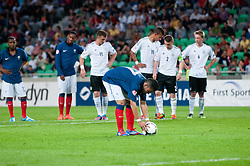 Zakarie Labidi of France sets a ball for penalty shot during the UEFA European Under-17 Championship Group A match between Germany and France on May 10, 2012 in SRC Stozice, Ljubljana, Slovenia. Germany defeated France 3:0. (Photo by Matic Klansek Velej / Sportida.com)