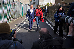 © Licensed to London News Pictures. 06/05/2021. London, UK. Labour Party Leader Sir Keir Starmer and his wife Victoria Starmer depart the Greenwood centre after voting in the Local and Mayoral elections. Photo credit: George Cracknell Wright/LNP