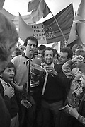 """1987 Kerry County Final : Kenmare defeat dr crokes.<br /> Kenmare captain Tommy O""""Sullivan receives the cup from Sean kelly, Chairman  Kerry County Board after they defeated Dr Crokes in the 1987 Kerry County Final.<br /> Photo: Don MacMonagle <br /> e: info@macmonagle.com<br /> <br /> from the macmonagle archive"""