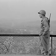 Al Mozell, looking down at a German town. circa April 1945